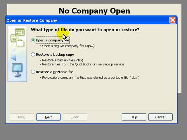 Open or Restore a Company File