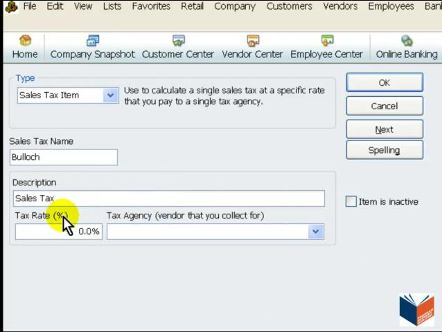 how to add sales tax to an item in quickbooks