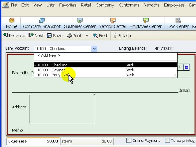 quickbooks online writing checks Lesson 10-2: locate check writing icons and menus – this free quickbooks business check printing tutorial will show you the icons and menus that will be used to write and print checks you will also learn which icon and menu to use when reconciling a bank statement using quickbooks in a later chapter.